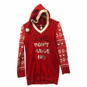 Ugly Christmas Sweater 'Santa Don't Judge Me' M